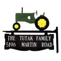 Farm Tractor Post Sign - 2 Line