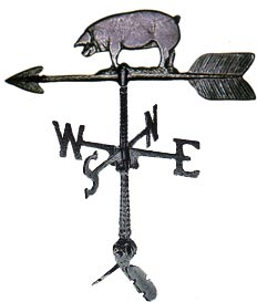 Cast Aluminum Pig 24in Weathervane