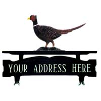 Pheasant Mailbox Top Address Sign