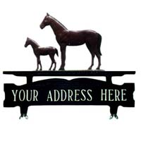 Mare & Colt Mailbox Top Address Sign