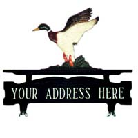 Duck Mailbox Top Address Sign