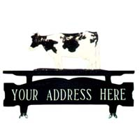 Cow Mailbox Top Address Sign
