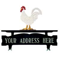 Rooster Mailbox Top Address Sign
