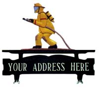 Fireman Mailbox Top Address Sign