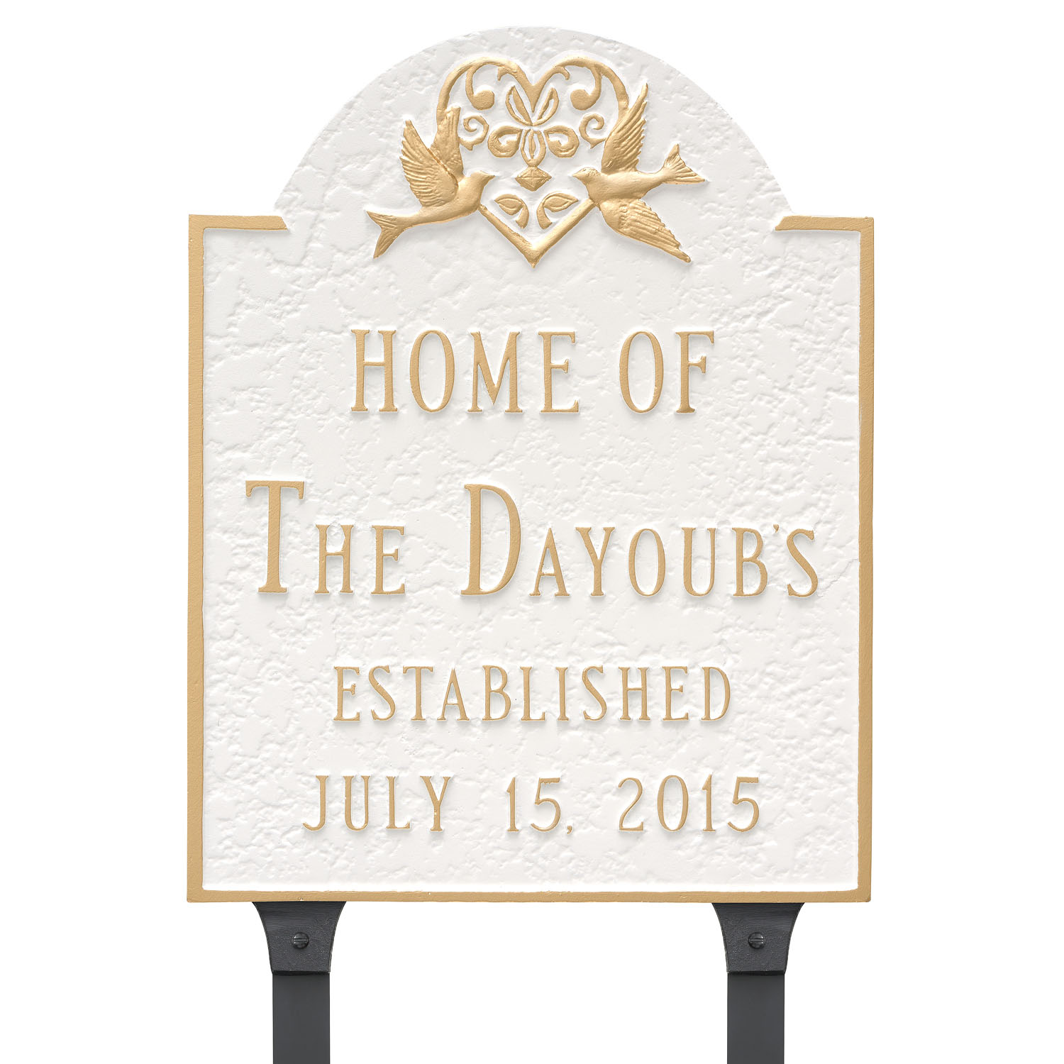 Doves Established - Wedding Date Home Plaque w/ Surname