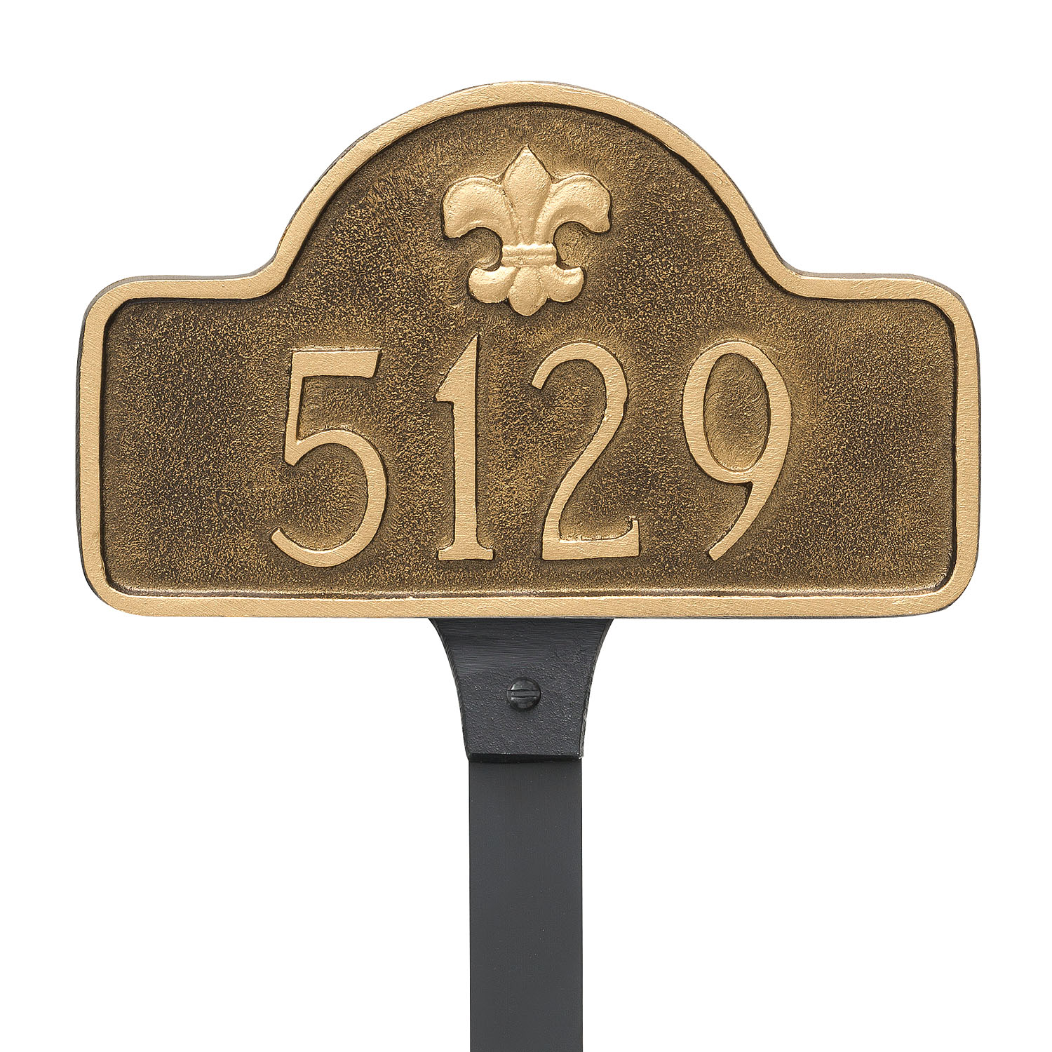 Fluer de Lis One Line Arch Address Plaque - Petite