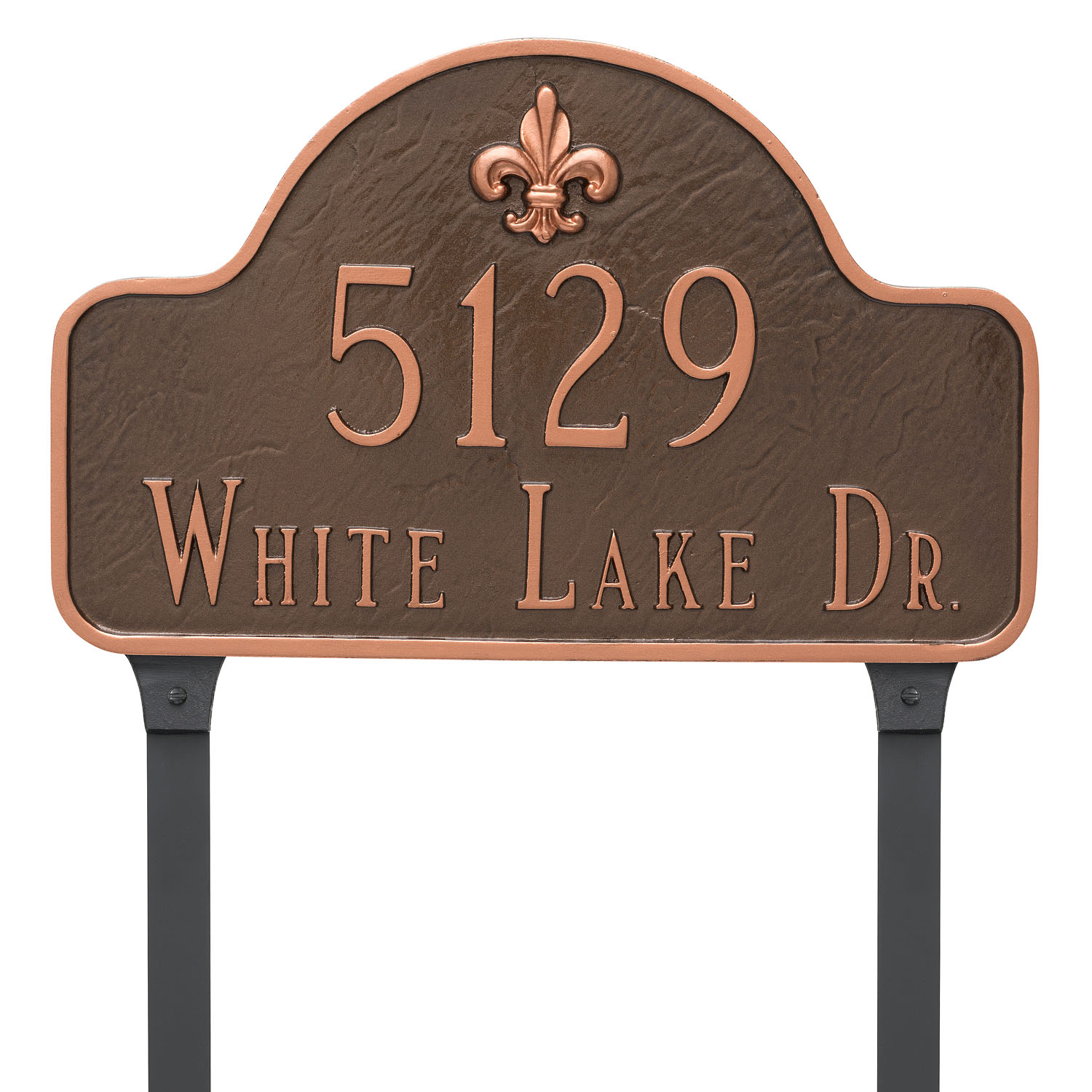 Fluer de Lis Two Line Arch Address Plaque - Large