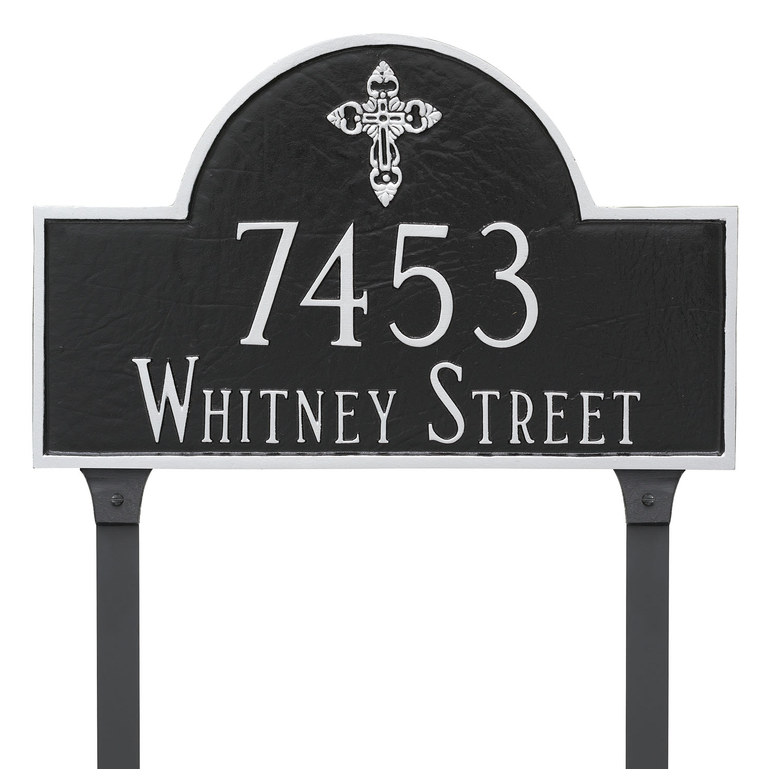 Ornate Cross Classic Arch Address Plaque