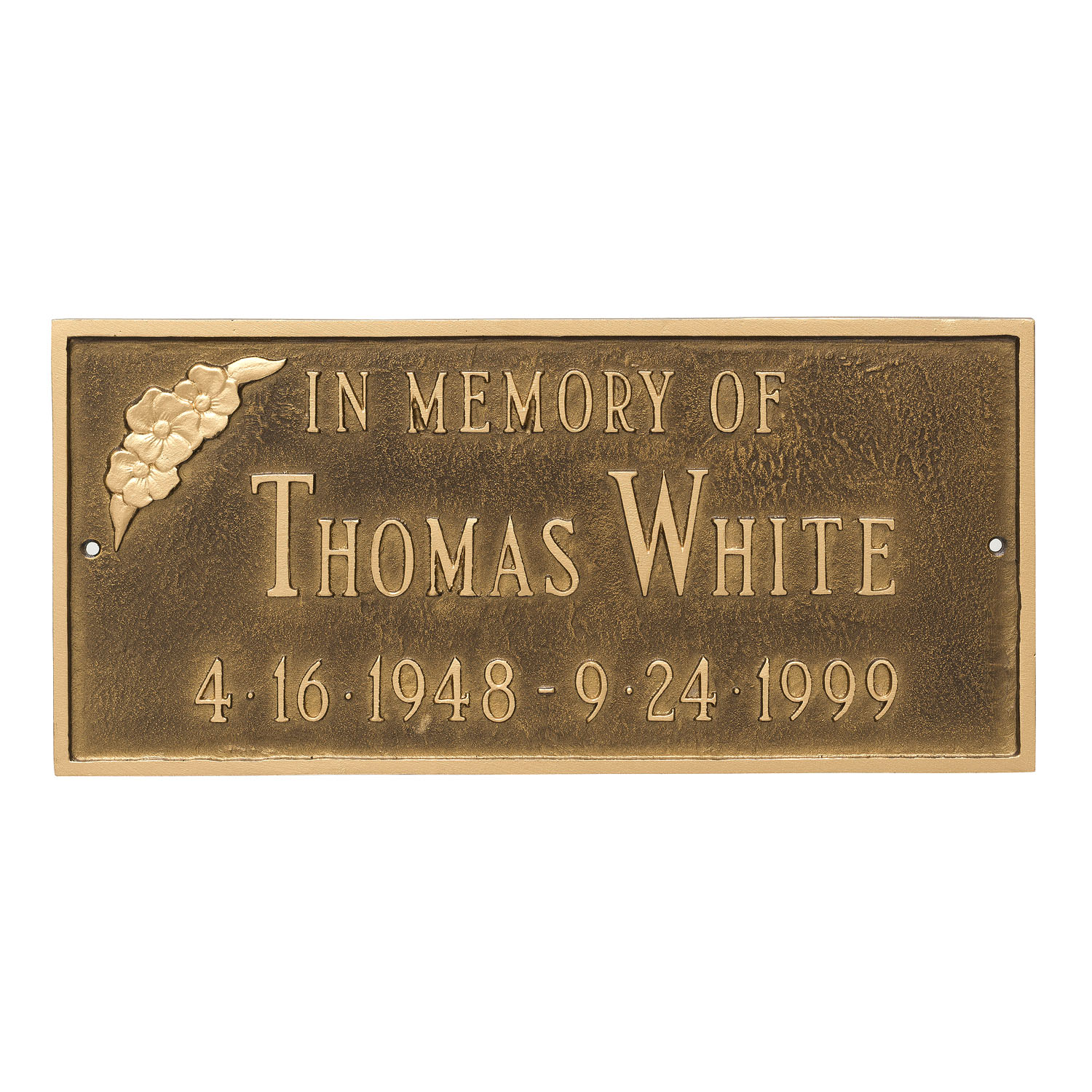 Flower Adorned Memorial Plaque