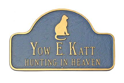 Hunting in Heaven Cat Memorial Plaque