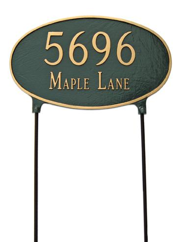 Oval Address Plaque - Large Double Sided Ground Mount