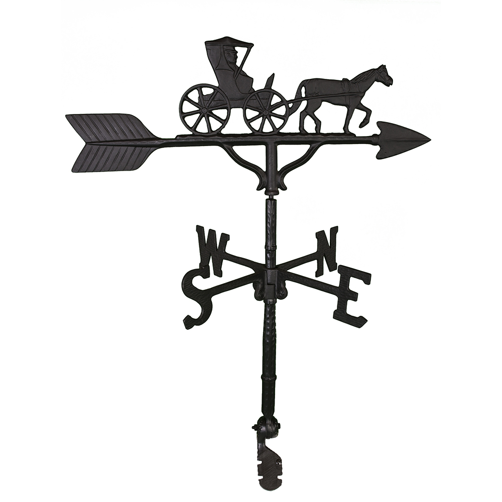 Cast Aluminum Horse Drawn Carriage 32in Weathervane