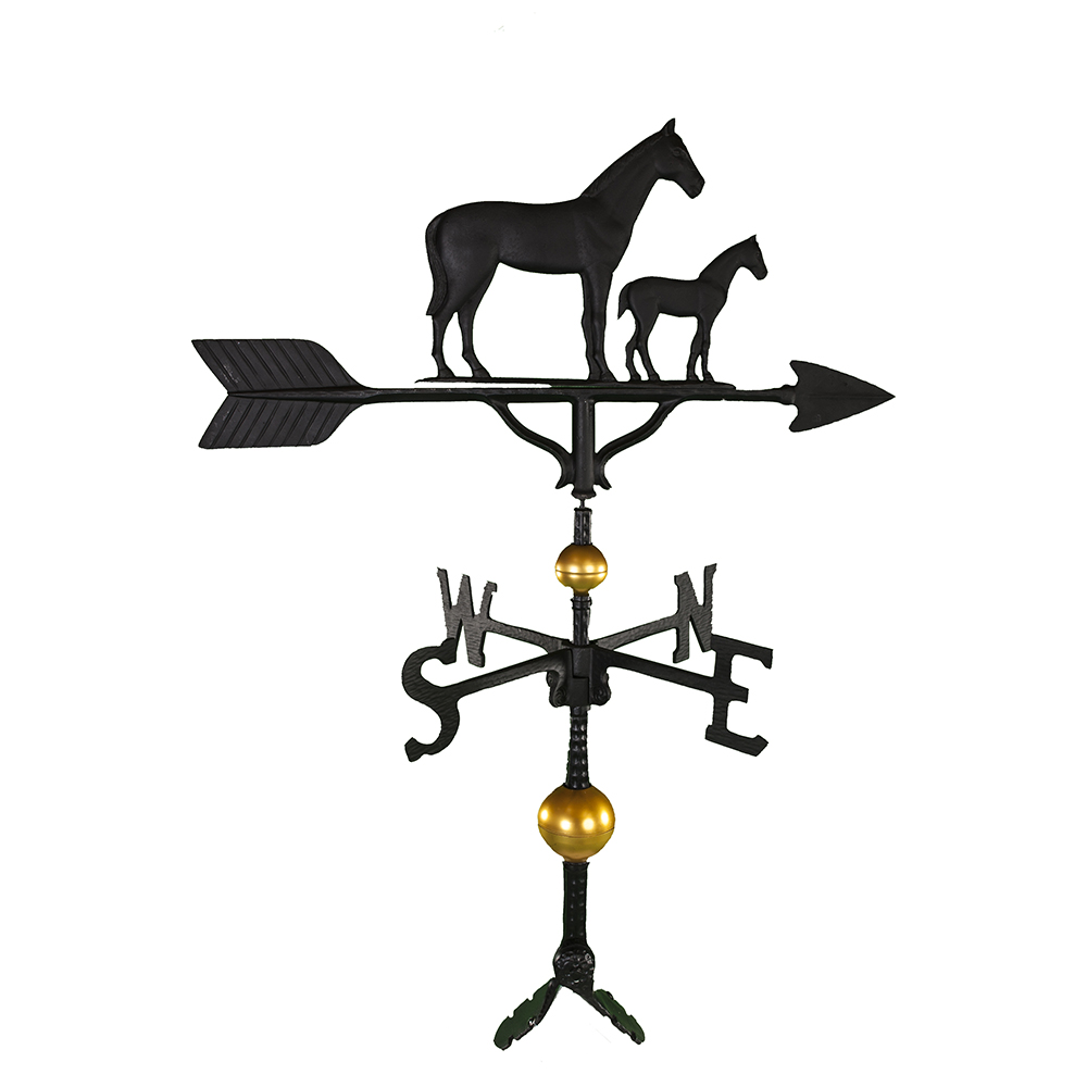 Cast Aluminum Mare & Colt 32in Weathervane - Deluxe