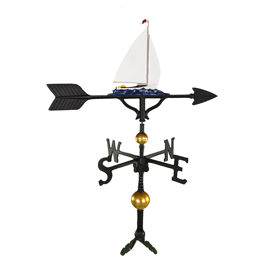 Cast Aluminum Sailboat 32in Weathervane - Deluxe