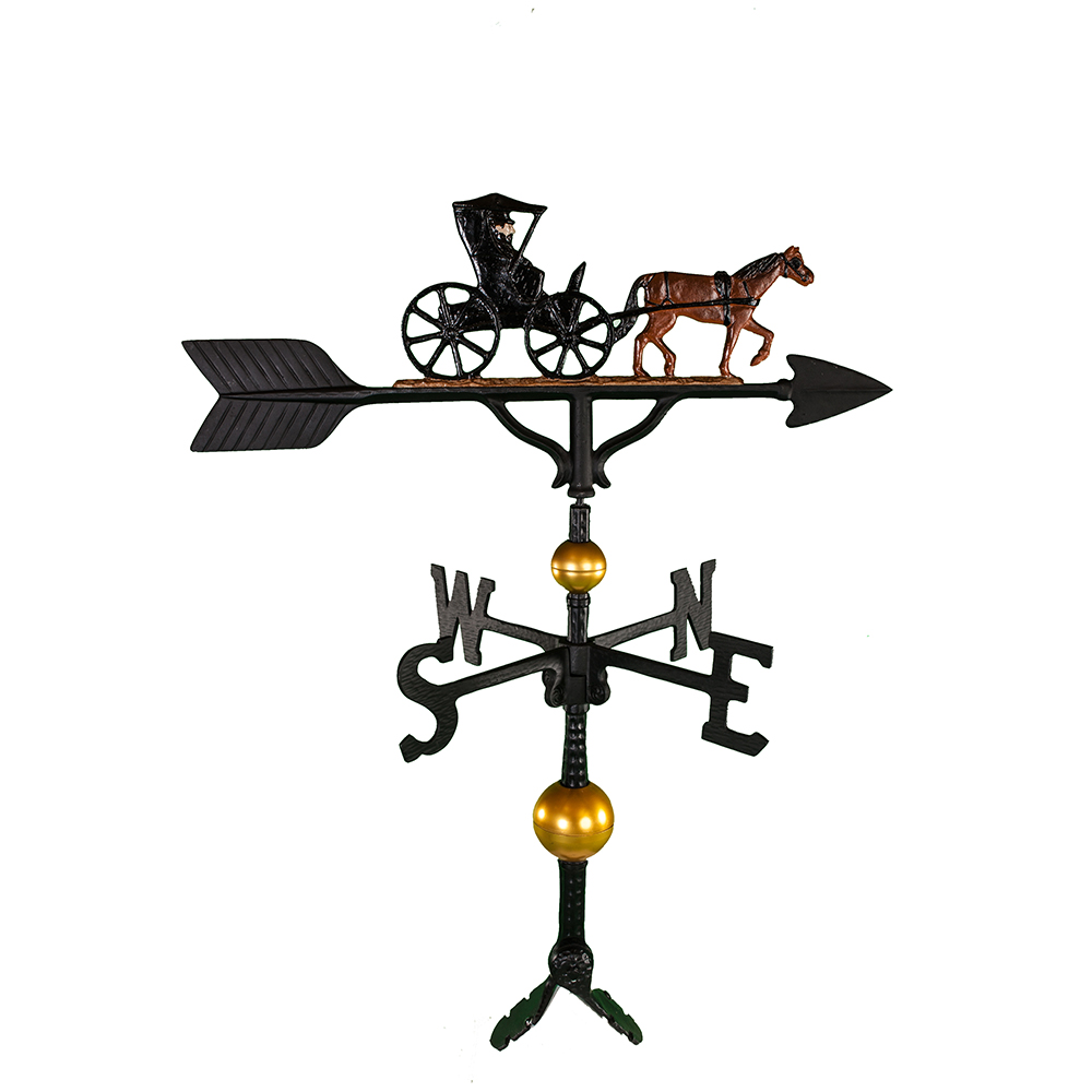 Cast Aluminum Horse Drawn Carriage 32in Weathervane...