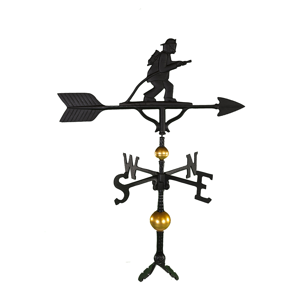 Cast Aluminum Fireman 32in Weathervane - Deluxe