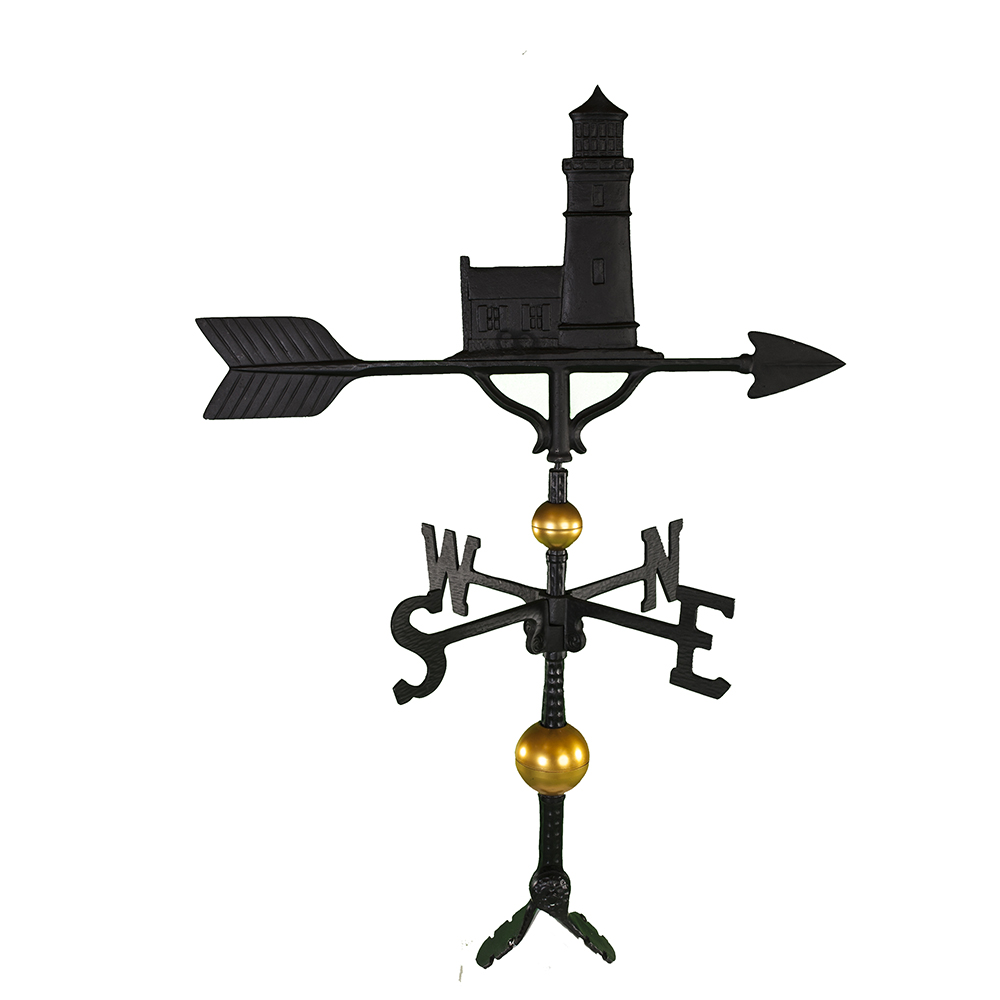 "Cast Aluminum Cottage Lighthouse 32"" Weathervane - Deluxe"