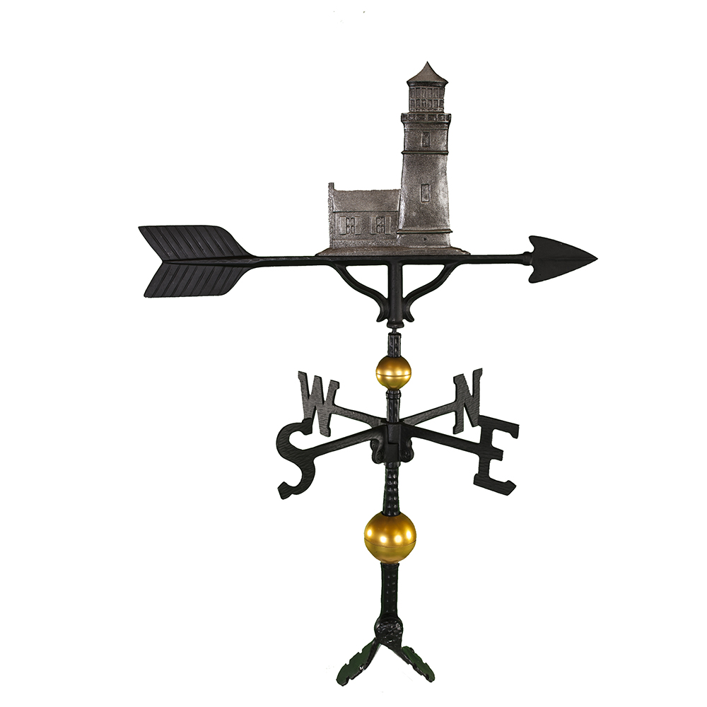 Cast Aluminum Cottage Lighthouse 32in Weathervane -...